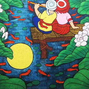 荷塘手绘画儿童